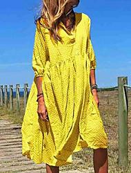 Недорогие -Жен. Прямое Платье - Рукав 3/4 Сплошной цвет V-образный вырез Элегантный стиль Свободный силуэт Синий Желтый Пурпурный Тёмно-синий Светло-зеленый S M L XL XXL XXXL