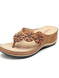 cheap -Women's Sandals Wedge Sandals 2020 Spring &  Fall / Spring & Summer Wedge Heel Open Toe Minimalism Daily Beach Satin Flower Floral PU Dark Brown / Black / Red