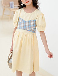 cheap -Kids Girls' Cute Street chic Patchwork Lace up Short Sleeve Knee-length Dress Yellow