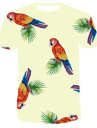 お買い得  -男性用 3D プリント スリム Tシャツ 日常 ラウンドネック ライトグリーン / 半袖
