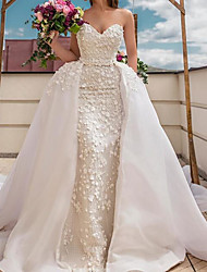 cheap -A-Line Wedding Dresses Sweetheart Neckline Sweep / Brush Train Polyester Strapless Country Plus Size with Embroidery 2021