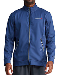 cheap -Men's Sports Fall Regular Coat, Solid Colored Round Neck Long Sleeve Polyester Blue