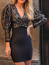 cheap -Sheath / Column Sparkle Black Party Wear Cocktail Party Dress V Neck Long Sleeve Short / Mini Sequined with Sequin 2020