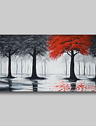 cheap -Oil Painting Hand Painted - Abstract Comtemporary Modern Stretched Canvas Trees Black Red