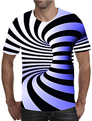 cheap -Men's Plus Size Geometric 3D Print T-shirt Street chic Exaggerated Holiday Going out Round Neck Blue / Purple / Red / Yellow / Green / Light Green / Rainbow / Short Sleeve