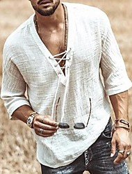 cheap -Men's Daily T-shirt Solid Colored Lace up Half Sleeve Tops Basic V Neck Beige