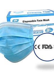 cheap -50 pcs Face Mask Breathable Disposable Protective 3 Layers In Stock Nonwoven Fabric Nonwoven CE FDA ISO Certification Waterproof Carrying High Quality Blue+ Free Shipping for 4 boxes