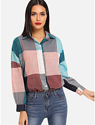 cheap -Women's Plus Size Color Block Loose Blouse Holiday Going out Shirt Collar Blushing Pink