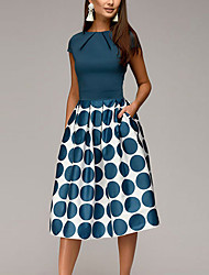 cheap -Women's Knee Length Dress A-Line Dress - Short Sleeve Polka Dot Geometric Print Ruched Patchwork Print Spring & Summer 1950s Elegant Going out 2020 Black Blue Red S M L XL XXL
