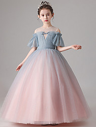 cheap -Ball Gown Floor Length Party / Birthday Flower Girl Dresses - Tulle Short Sleeve Jewel Neck with Pleats