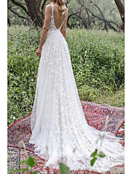 cheap -A-Line Wedding Dresses V Neck Sweep / Brush Train Lace Tulle Sleeveless Country Plus Size with Lace Embroidery 2020