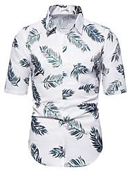 tanie -Męskie Geometric Shape Koszula Hawajskie Codzienny Biały