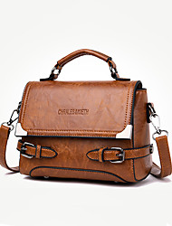 cheap -Women's Polyester / PU Top Handle Bag Leather Bags Solid Color Wine / Black / Yellow / Fall & Winter