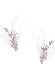 Недорогие -Мода Перья Аксессуары для волос / Зажим для волос с Стразы 2pcs Свадьба / Особые случаи Заставка