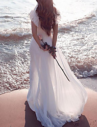 cheap -A-Line Wedding Dresses Plunging Neck Sweep / Brush Train Chiffon Chiffon Over Satin Short Sleeve Country Beach Plus Size with Lace Sashes / Ribbons Ruffles 2021