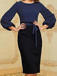 cheap -Women's Sheath Dress - Long Sleeve Polka Dot Square Neck Elegant Slim Navy Blue S M L XL XXL