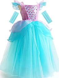 cheap -Ball Gown Floor Length Event / Party / Birthday Flower Girl Dresses - POLY Short Sleeve Scoop Neck with Cascading Ruffles / Color Block / Paillette