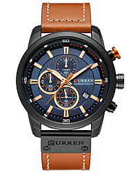 cheap -CURREN Men's Dress Watch Quartz Formal Style Stylish Luxury Water Resistant / Waterproof Analog Rose Gold White / Brown Black / Rose Gold / PU Leather / Calendar / date / day / Three Time Zones