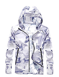 cheap -Men's Daily / Sports Basic Spring &  Fall / Spring & Summer Regular Jacket, Camo / Camouflage Hooded Long Sleeve Nylon Print Blue / Royal Blue / Gray