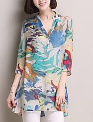 cheap -Women's Floral Print T-shirt Daily V Neck Orange / Green