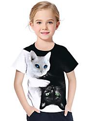 Недорогие -Дети Дети (1-4 лет) Девочки Активный Классический Кот Фантастические звери Контрастных цветов 3D Животное С принтом С короткими рукавами Футболка Белый