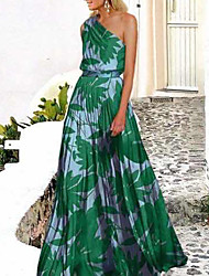cheap -Women's Swing Dress Maxi long Dress Green Rose Red Sleeveless Print Trees / Leaves Spring & Summer One Shoulder Hot vacation dresses S M L XL XXL