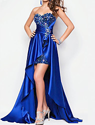 cheap -A-Line Sparkle Blue Party Wear Prom Dress Sweetheart Neckline Short Sleeve Asymmetrical Lace Stretch Satin with Sequin Overskirt 2020