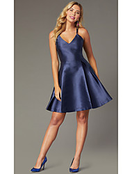 cheap -A-Line Beautiful Back Flirty Homecoming Cocktail Party Dress Halter Neck Sleeveless Short / Mini Stretch Satin with Criss Cross Pleats 2020