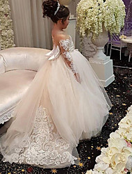 cheap -Ball Gown Court Train Wedding Flower Girl Dresses - Lace / Satin / Taffeta Long Sleeve Off Shoulder with Bow(s) / Solid