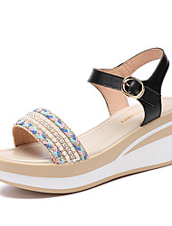 cheap -Women's Sandals Wedge Sandals 2020 Spring &  Fall / Spring & Summer Wedge Heel Open Toe Casual Minimalism Daily Outdoor PU Black / Beige