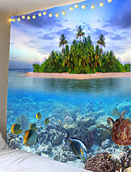cheap -Wall Tapestry Art Decor Blanket Curtain Picnic Tablecloth Hanging Home Bedroom Living Room Dorm Decoration Animal Fish Underwater World Tropical Island