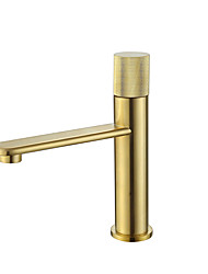 cheap -Bathroom Sink Faucet - Black / Brushed Gold Finish Bath Mixer Taps Single Handle Hot and Cold Water Basin Faucet