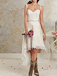 cheap -A-Line Wedding Dresses Spaghetti Strap Asymmetrical Lace Tulle Sleeveless Country Plus Size with Lace 2020