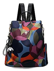 Недорогие -Большая вместимость Полиэстер Нейлон Молнии рюкзак Геометрический принт Повседневные Цвет радуги