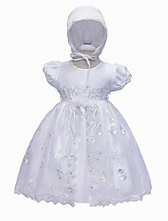 cheap -A-Line Floor Length First Communion Christening Gowns - Polyester Short Sleeve Jewel Neck with Lace / Bow(s)