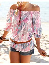 cheap -Women's Geometric Blouse Daily Off Shoulder Blushing Pink