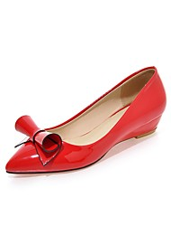 cheap -Women's Heels Wedge Heel Pointed Toe Patent Leather Classic Spring &  Fall Red / Pink / White / Party & Evening
