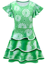 cheap -Kids Girls' Flower Cute Jacquard Print Short Sleeve Knee-length Dress Green