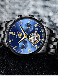 cheap -Men's Mechanical Watch Automatic self-winding Fashion Water Resistant / Waterproof Analog Black / Silver Black+Gloden White+Silver / Stainless Steel / Noctilucent