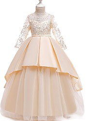 cheap -Princess Round Floor Length Cotton Junior Bridesmaid Dress with Bow(s) / Pleats / Crystals