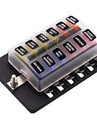Недорогие -Автомобильный выключатель 32в / блок предохранителей 1 в 12 со светодиодной индикаторной клеммной колодкой ПК / двойной двойной предохранитель