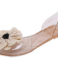 cheap -Women's Sandals Flat Sandals Summer Flat Heel Peep Toe Daily Synthetics White / Black / Champagne / Clear / Transparent / PVC