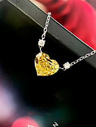Недорогие -4 карата Цепочка Серебристый Назначение Жен. В форме сердца Дамы Роскошь Элегантный стиль Свадьба Свадьба Вечерние Официальные Высокое качество Подвеска