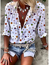 cheap -Women's Polka Dot Print Shirt Daily Shirt Collar White / Blue / Blushing Pink / Fuchsia