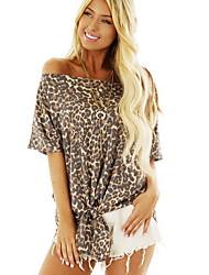 cheap -Women's Leopard T-shirt Daily Off Shoulder Yellow