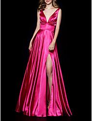 Недорогие -плиссированные сплит-линии без рукавов минималистский v шеи длиной до пола атласная вечерняя одежда платье выпускного вечера