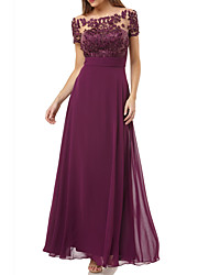 cheap -A-Line Mother of the Bride Dress Elegant Bateau Neck Floor Length Chiffon Short Sleeve with Appliques 2021