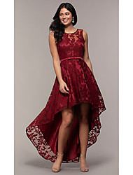 cheap -A-Line Cut Out Beautiful Back Homecoming Cocktail Party Dress Illusion Neck Sleeveless Asymmetrical Lace with Sash / Ribbon 2020