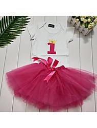 cheap -Toddler Girls' Sweet Fantastic Beasts Letter Print Short Sleeve Mini Dress Fuchsia