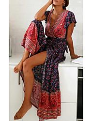 Недорогие -Жен. Макси С летящей юбкой Платье - Короткие рукава С принтом V-образный вырез Красный S M L XL